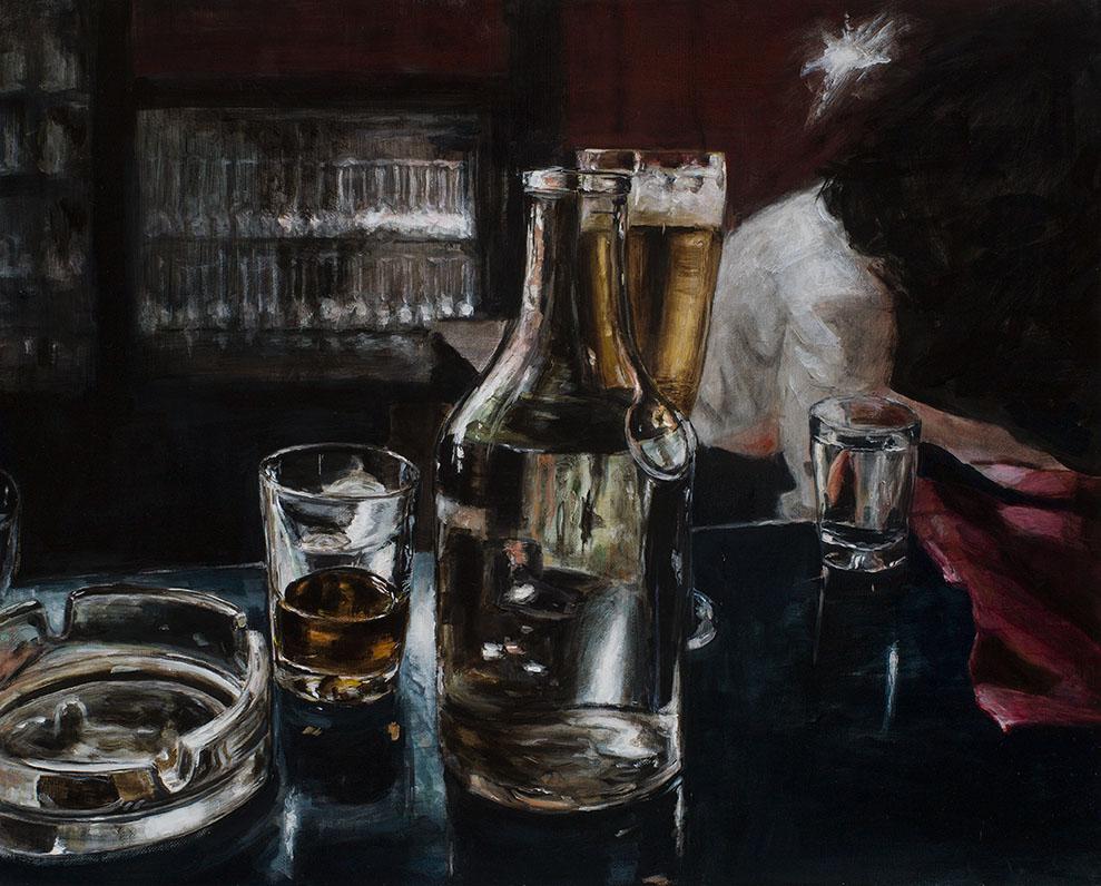 theke mit gläsern, 2016, öl/leinwand, 40 x 50 cm