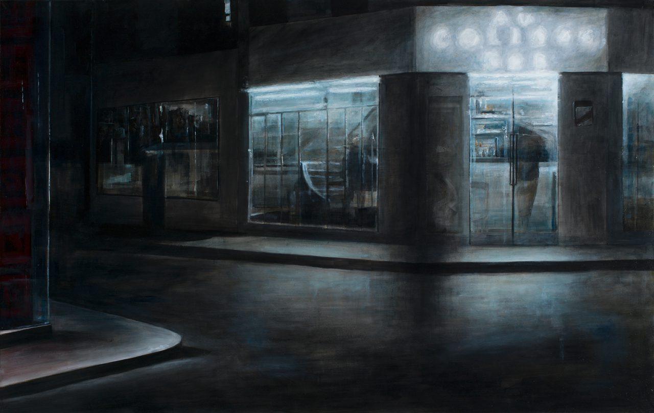 nachts der frühling (bar bei nacht), 2016, öl/leinwand, 140 x 220 cm