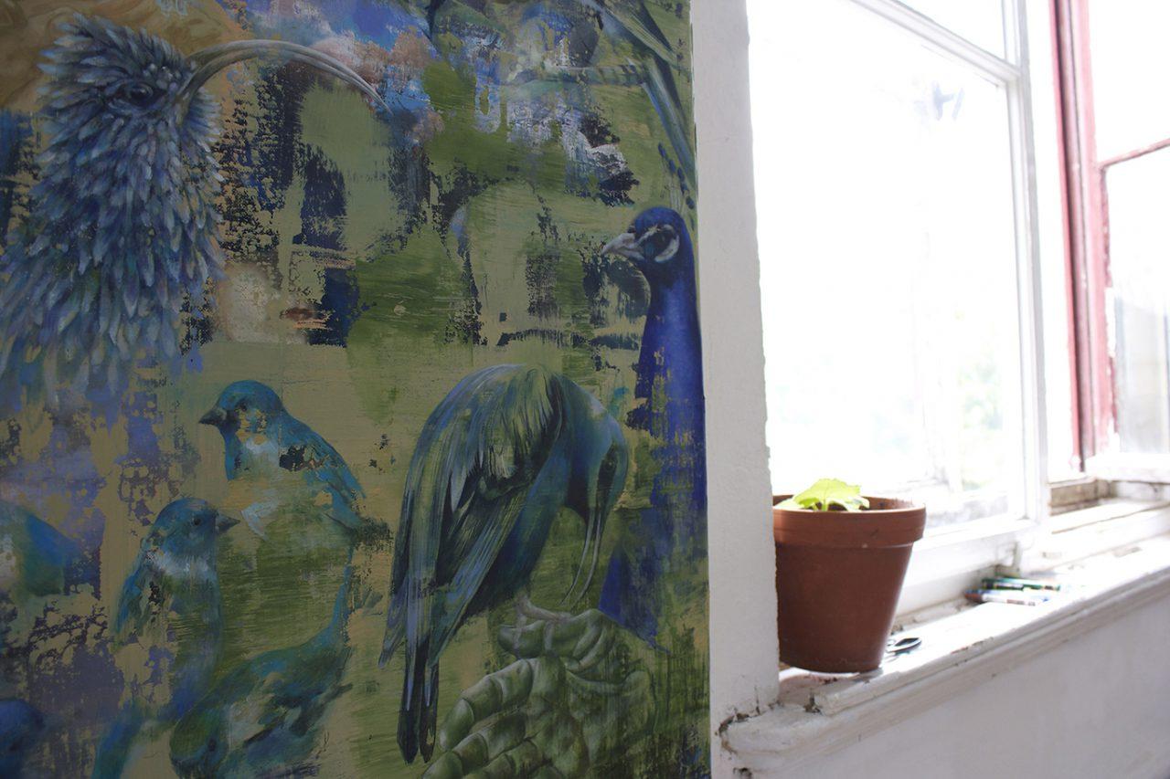 studio view, birds (blue), 2016, 65 x 48 cm, oil on canvas