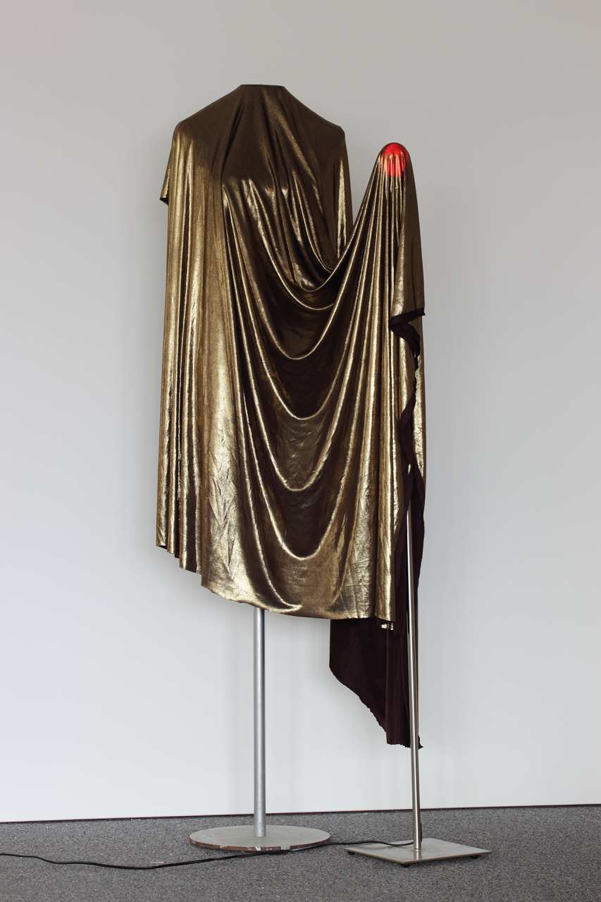 Golden Lady 2016 163 x 64 x 57cm mannequin, lamp stand, red bulb, gold fabric.