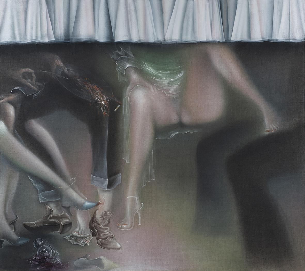 Nicht Abgeschlossenes, Nichts Beständiges, Nichts Ruhendes 2013, 170x190 cm, Oil on raw canvas