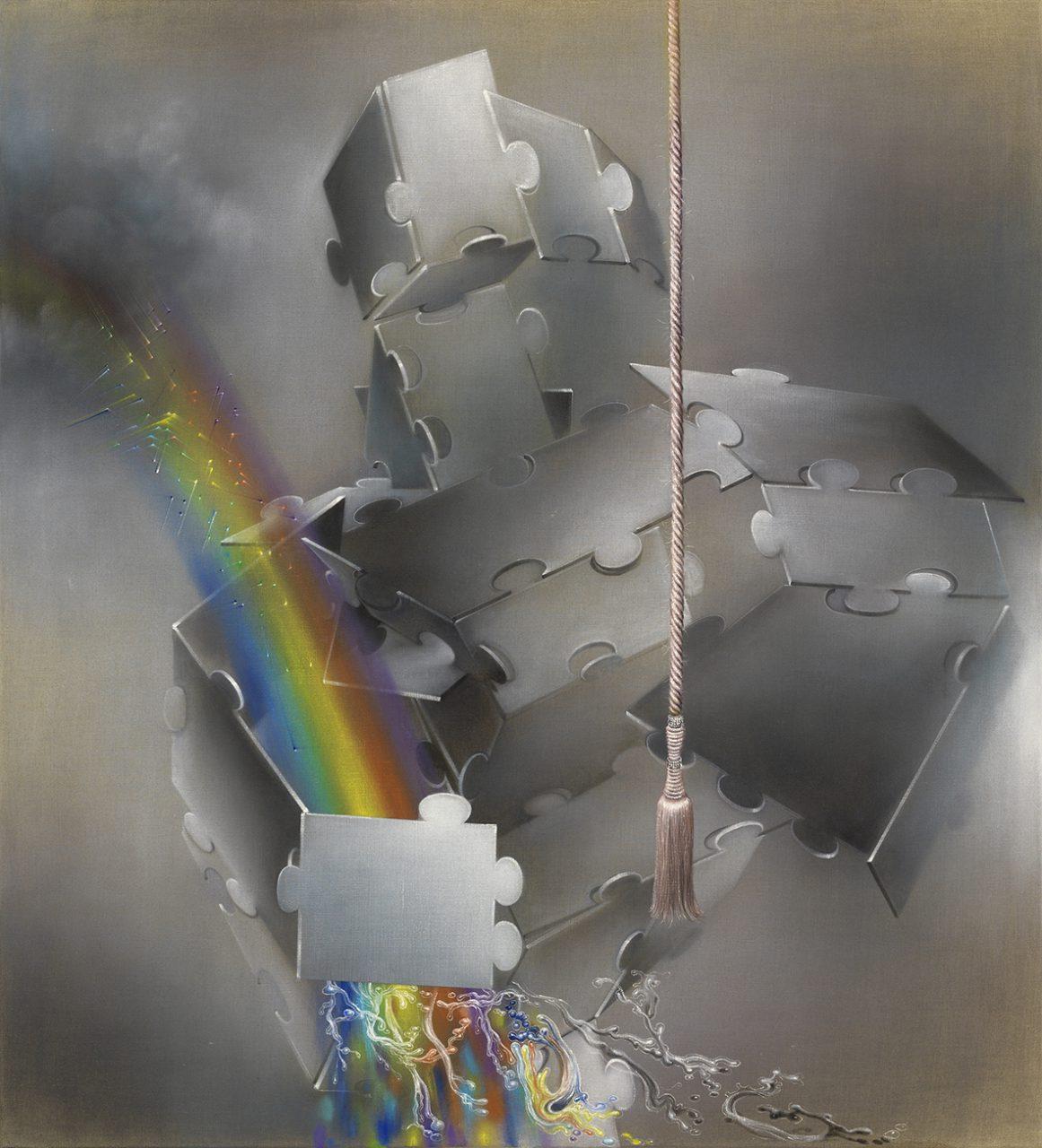 Rainbow Worrier 2014, 160x145 cm, Oil on raw canvas