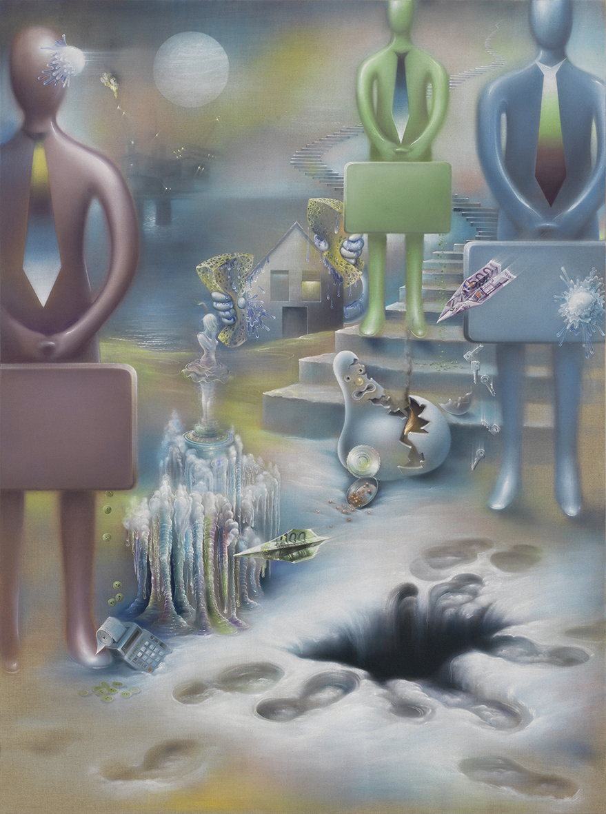 Enviroment for spiritual Vacuum (Yes-Men), 2015, Oil on raw canvas, 235 × 175 cm