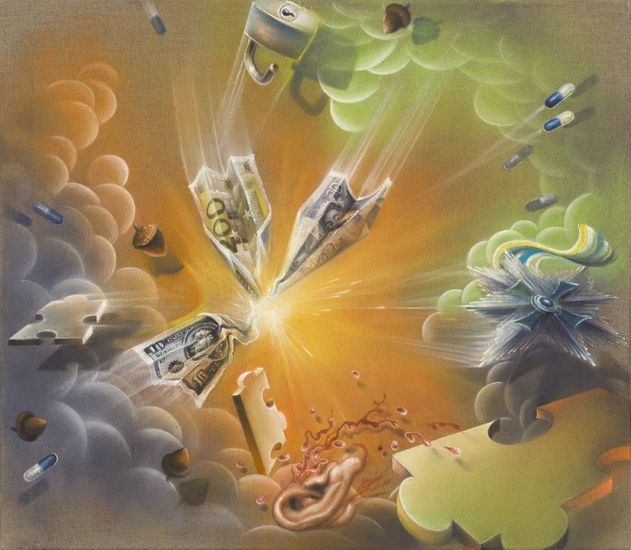 Im Reich der Tiefe I, 2016, Oil on raw canvas, 70 × 80 cm