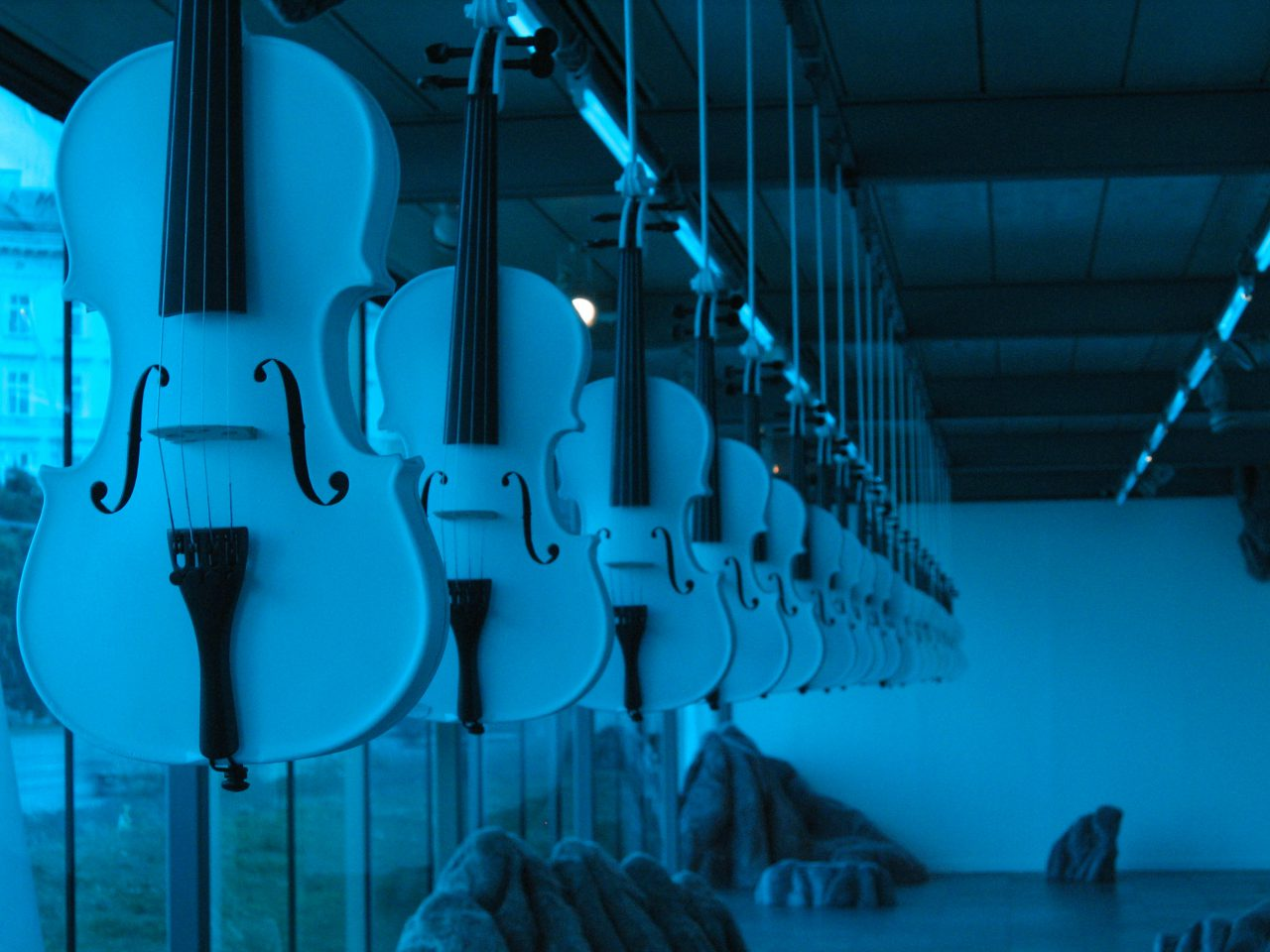 'Islamic Violins' Sculptural Installation of 30 hand-sculpturally treated violins
