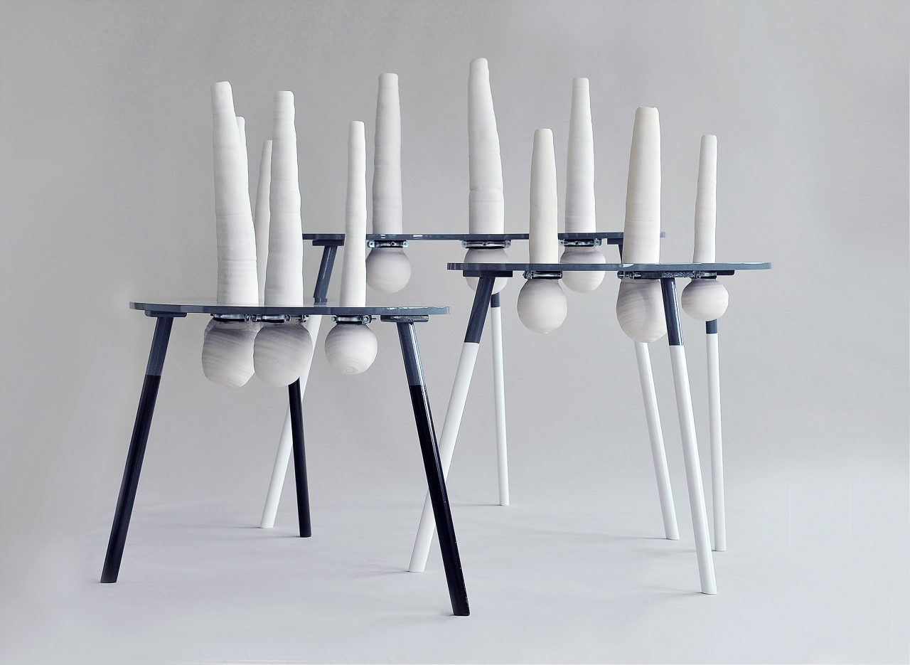 Irreversible matters I sculptures I wood, ceramics, paint I 150 x 130 x 60 cm