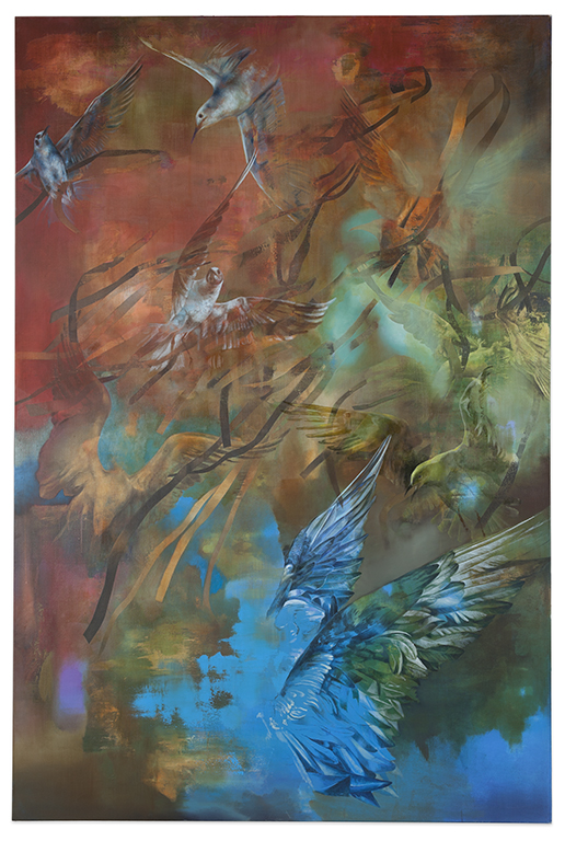 birds (red), 2016, 210 x 130 cm, oil on canvas