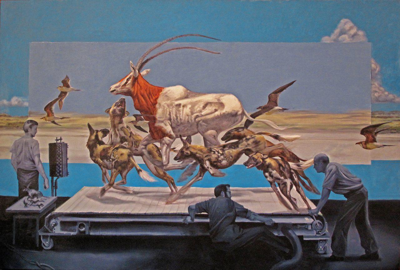 """Treadmill,"" oil on canvas 48' x 72' 2014"