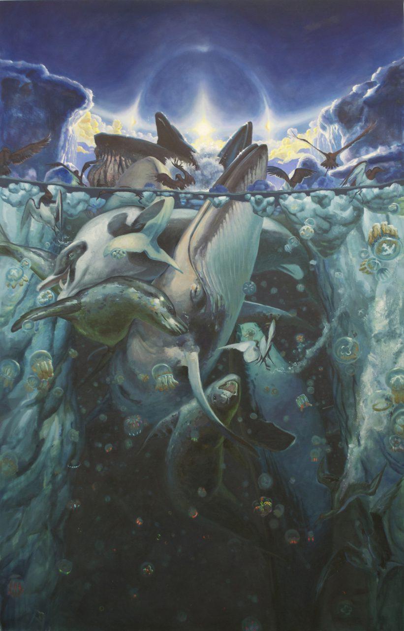 """""""Polynya,"""" oil on canvas, 132"""" x 84,"""" 2014"""