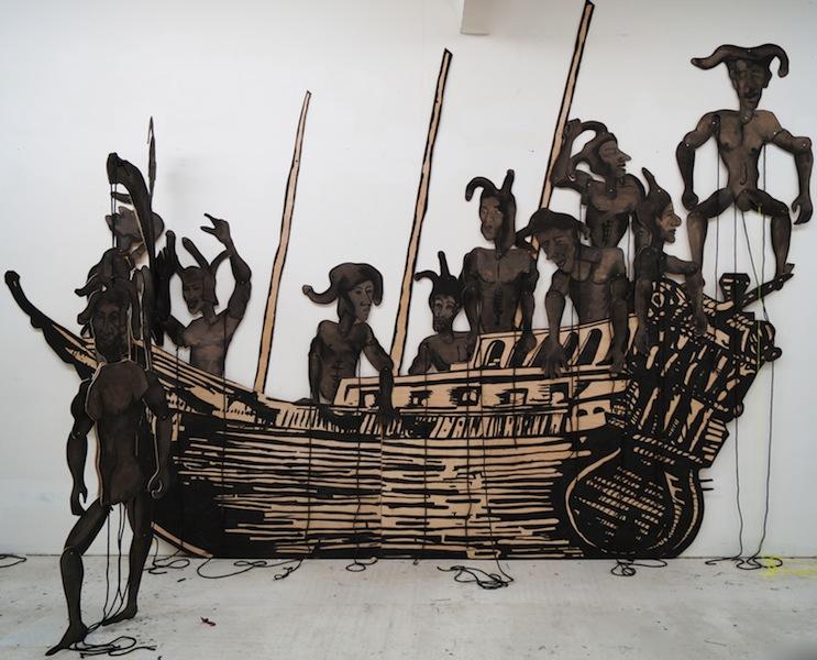 Erez Israeli, Ship of Fools, 2015, Ink on wood, 400 x 400 cm