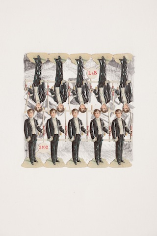 Erez Israeli, DIECUT (Communion Boys), 2016, Graphite on paper, oblaten, 36 x 48 cm (detail)