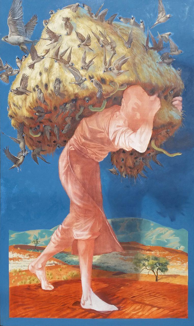 """Atlas,"" oil on canvas , 74"" x 44,"" 2016"
