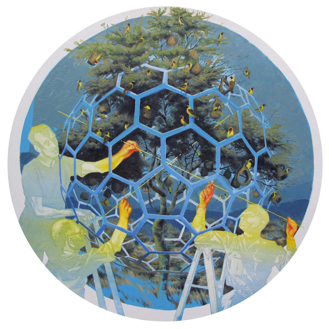 """""""Weaver,"""" oil on canvas, 34"""" diameter, 2016"""