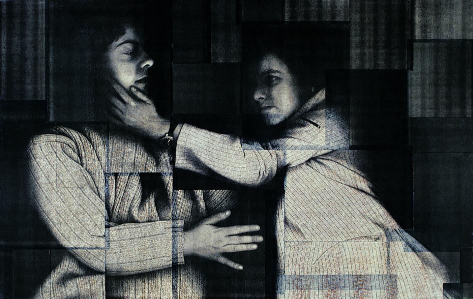 Monika&Saskia, Copygraph on Wood, Ressin, 70x102cm, 2000 (Foto: Wolfgang Detering)