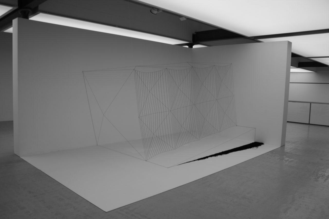 """""""spacebox no°1"""", 2014 , cotton, nails, private museum 280x438x315 cm"""