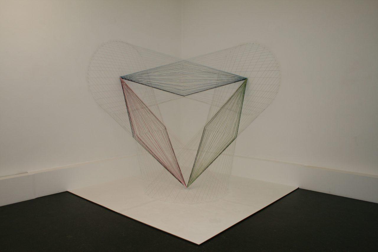 """""""Ecke, Skizze, Symmetrie"""", 2016, cotton, nails, biennale of drawing Eislingen 200x200x200 cm"""