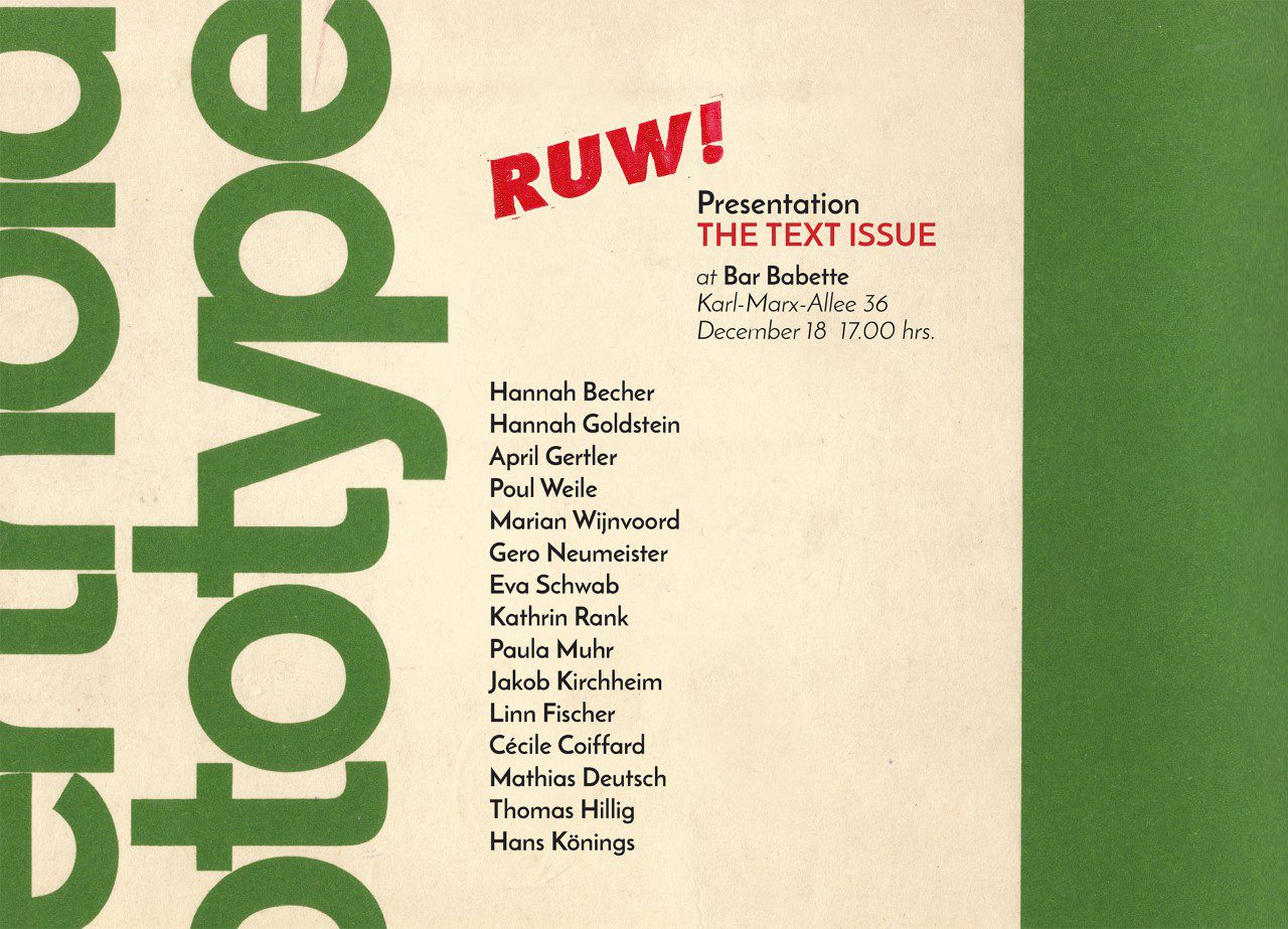 RUW! THE TEXT ISSUE