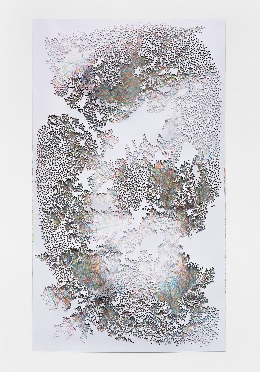 Proxy 2-04, 2015, Photo print of a scanned drawing, perforated, 171 x 100 x 2 cm, Photo: Bernd Hiepe