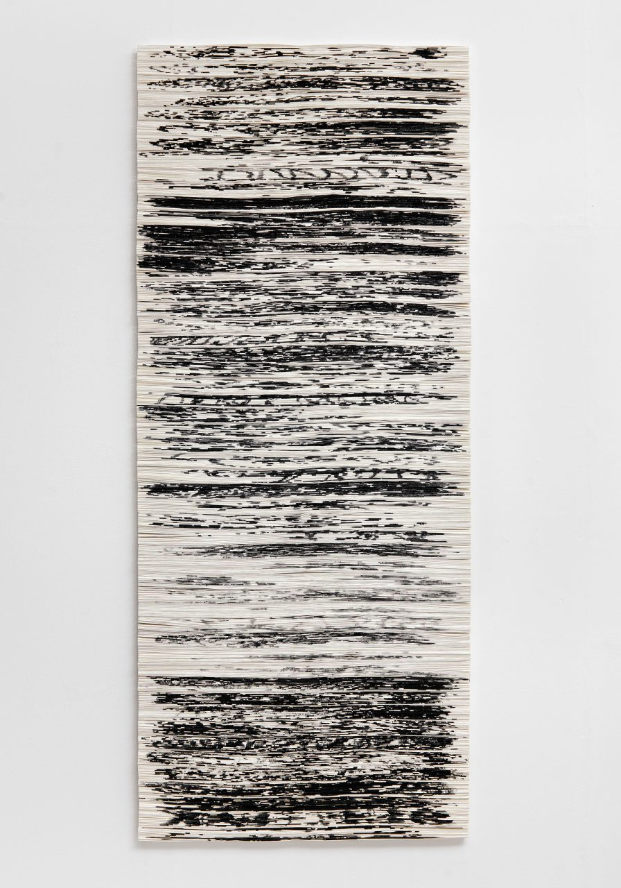 Black outs 6, 2010, brush drawing on paper, folded, 172 x 72 x 4 cm