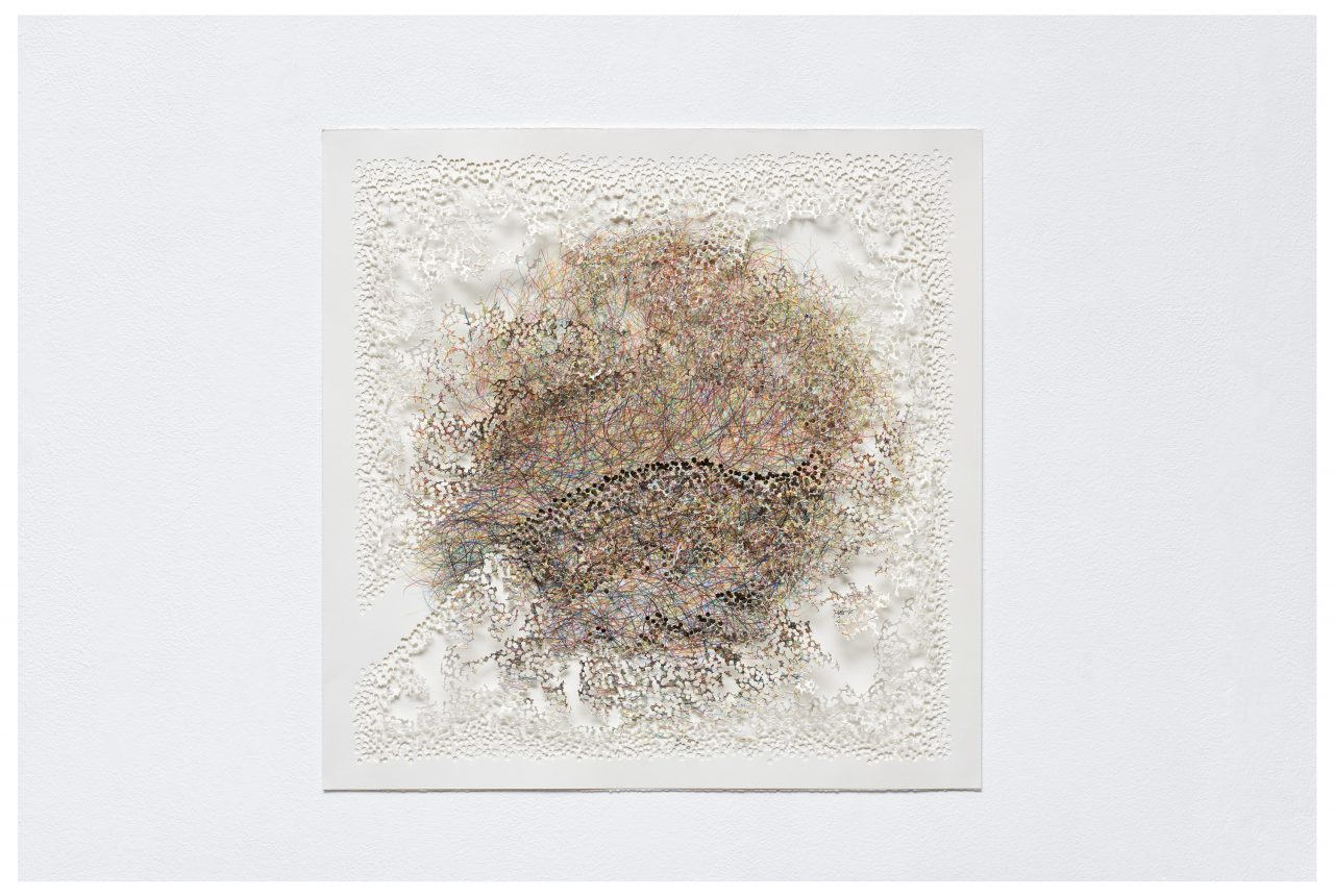 Visi-topia 12, 2014, coloured pencils on paper, perforated, 48 x 49 x 3 cm