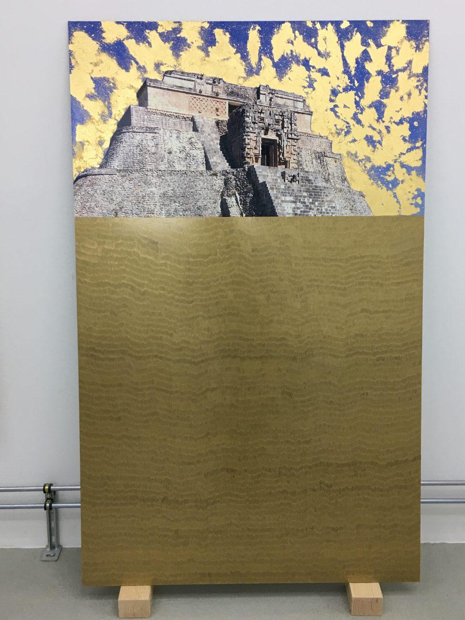 not yet titled, 2017   marker and gold leaf on digital C-print   Photo: Slater Bradley Studio