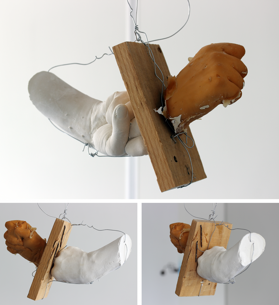 Totally wired 2014 approx 32 x 61 x 20cm body casts, latex, plaster, wood, nails, wire
