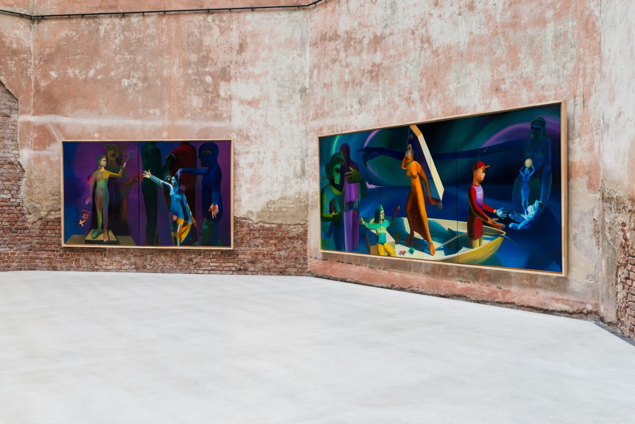 left: Plateau Europa, 220x 370 cm, oil on canvas, 2015-2016 // right: Zeitenwende, 220x 510 cm, oil on canvas, 2015-2016, photograph by Robert Vanis
