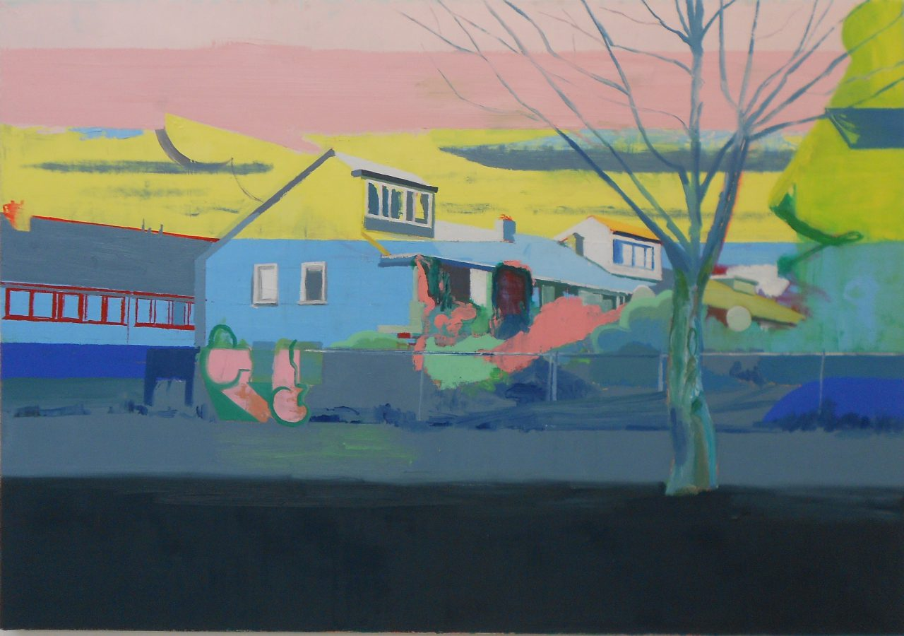 Houses behind the wasteland, 2016. Oil on linnen, 80x100cm