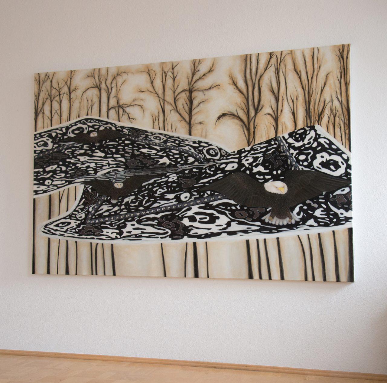 Adler-Teppich, Öl auf Leinwand, 130 x 180 cm, 2016