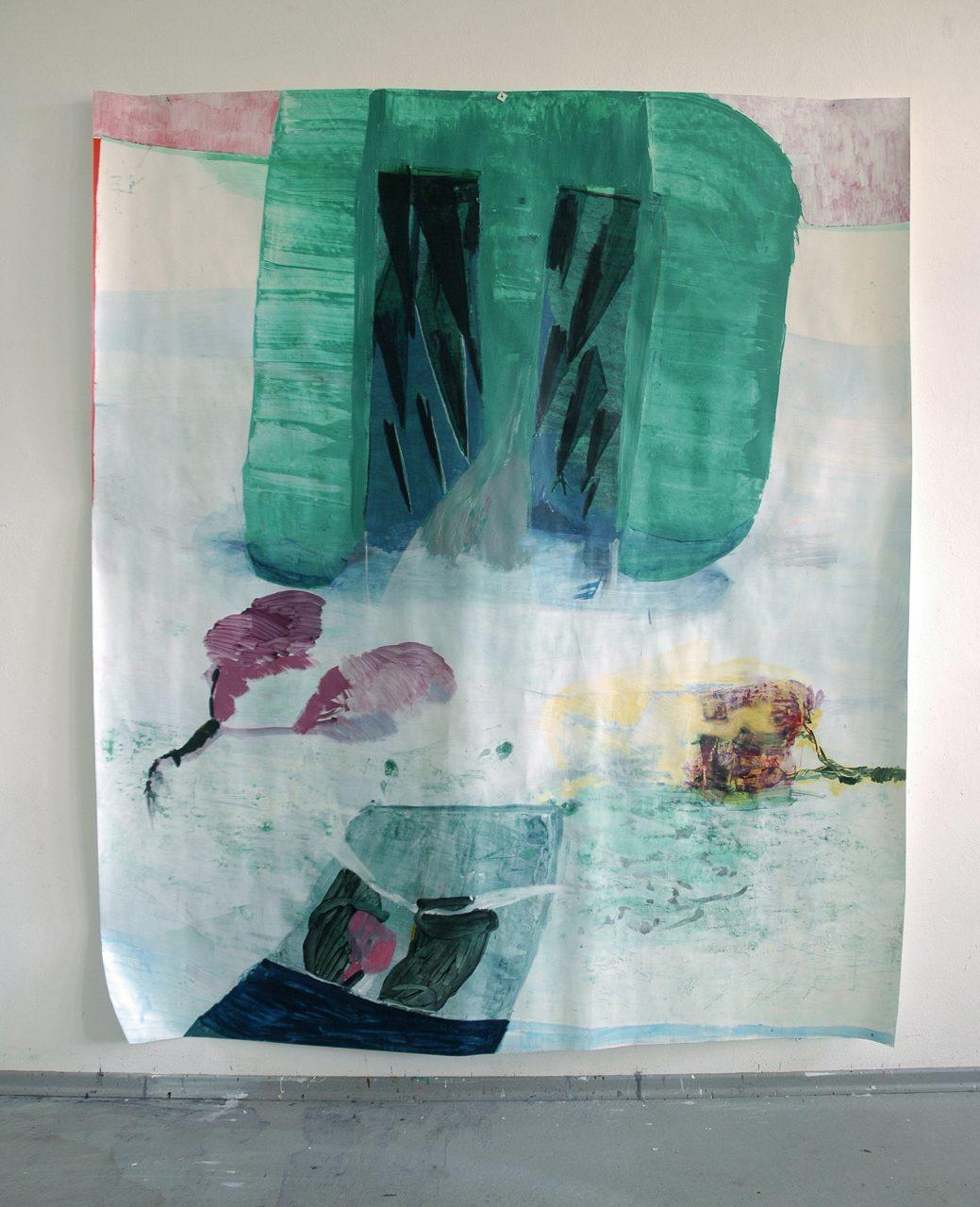 sprang in einen Fluss, 2014, mixed media on paper, 255 x 250 cm