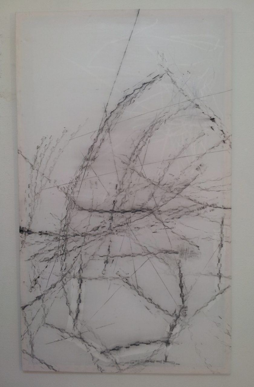 available painting: L12-13, frottage printed from keyaccumulation M03-09, mixed media on cotton, 247x146cm, 2013
