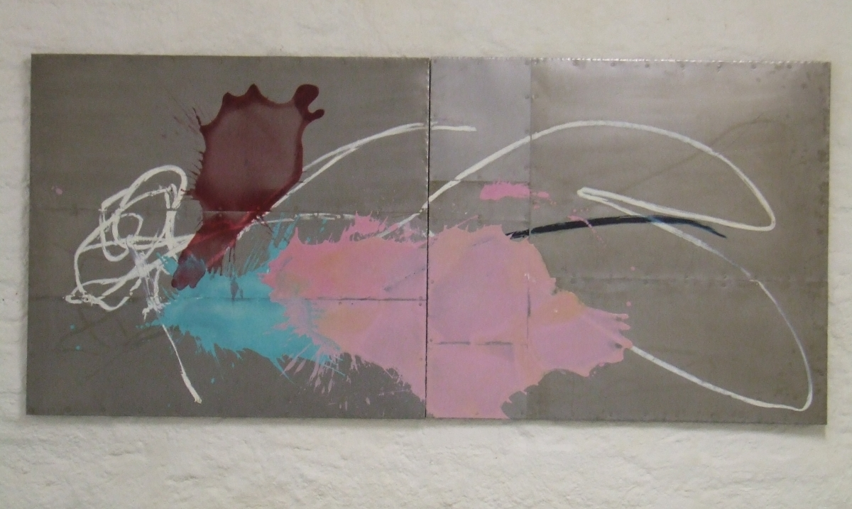 """available painting: """"rose"""", R01,02-10, mixed media, oil on metal, 120x240cm, 2010"""
