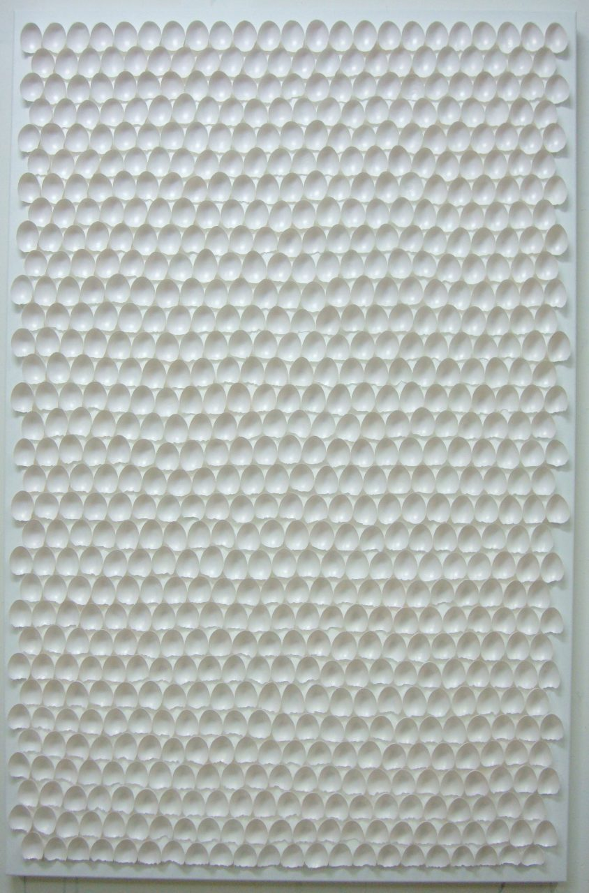 NANO 720, 2012 / invisible color on eggshells on canvas, 170x110x7cm /collection Museum of Organic Culture, Russia