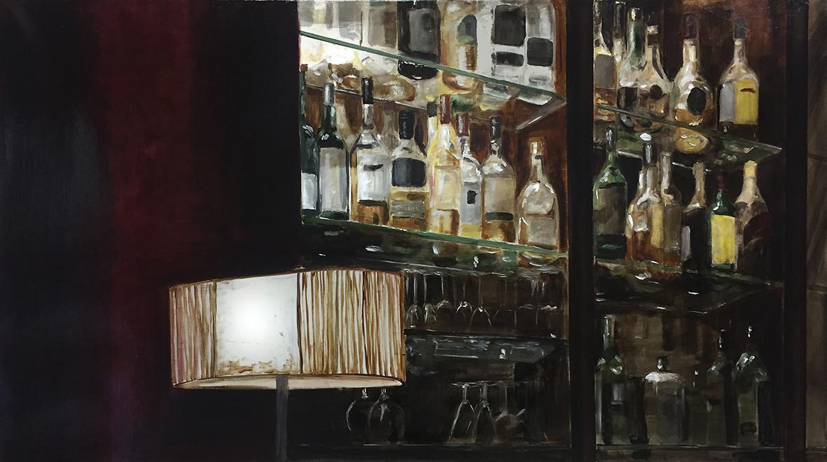 lampe im kirk, 2016, öl/leinwand, 50 x 90 cm