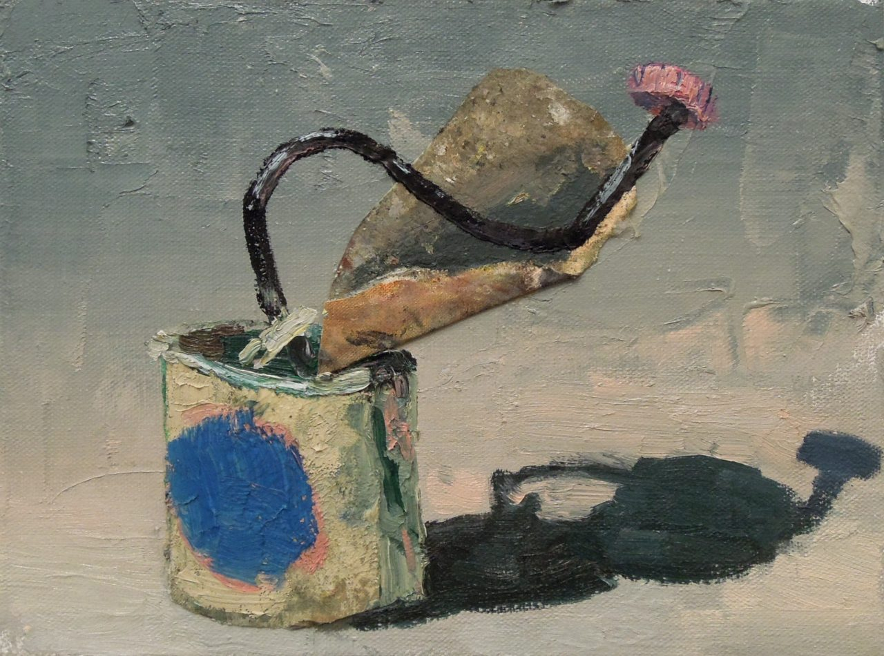 The Pink Lid - 30x40cm - Oil an pigments on canvas collage - 2016