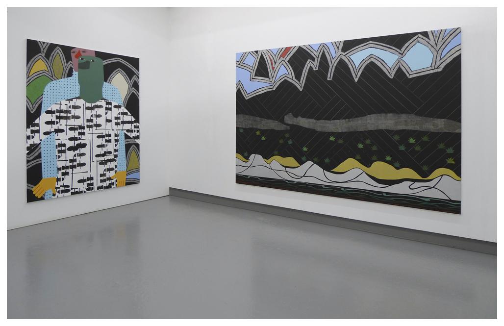 left: Mug & Landscape I, 180x150cm, 2016 _ right: Blak Landscape, 170x250cm, 2016