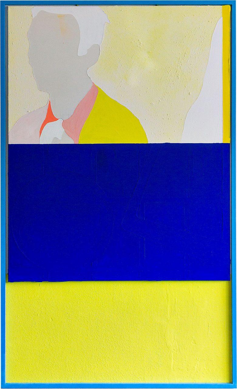 Doppel, 2016, 200 x 125 cm, Acryl,Vinyl,Edelstahl,Leinwand,Wandfarbe auf Wand