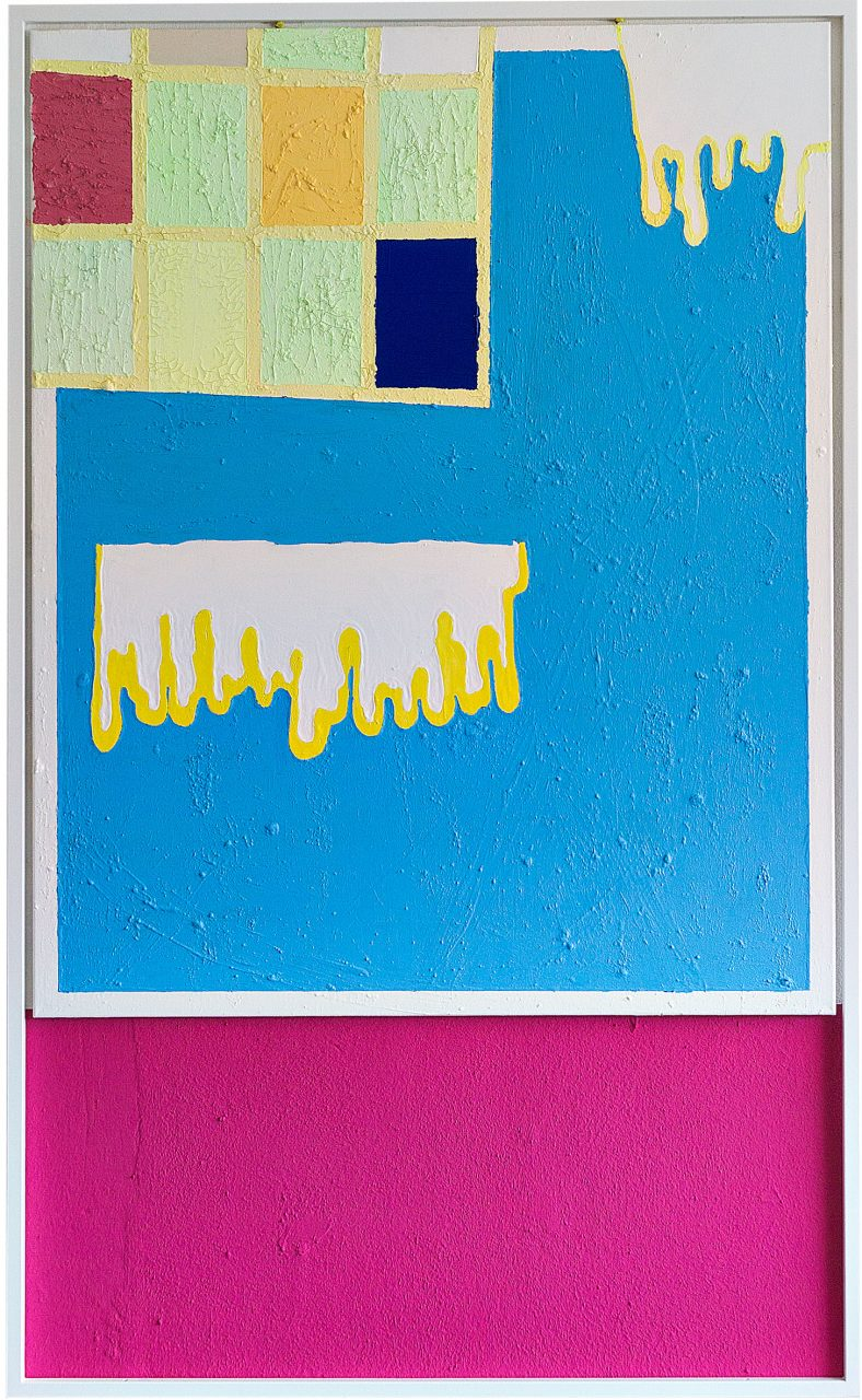 When, 2016, 200 x 125 cm, Acryl,Vinyl,Edelstahl,Leinwand,Wandfarbe auf Wand