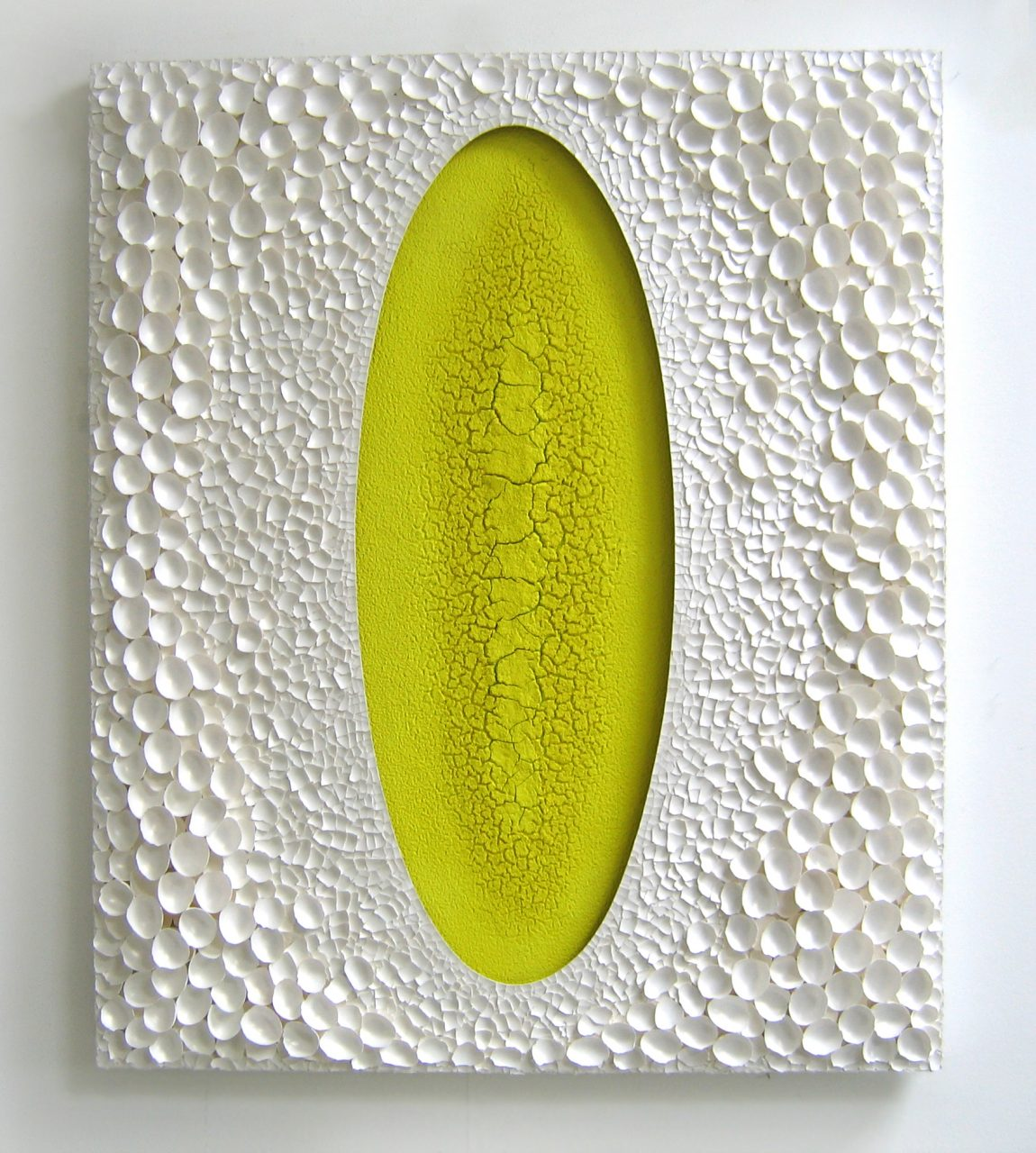 Alexei Kostroma. YELLOW OVAL, 2005, yellow lemon pigment and eggshells on canvas, 120x100x8cm, Private collection EU