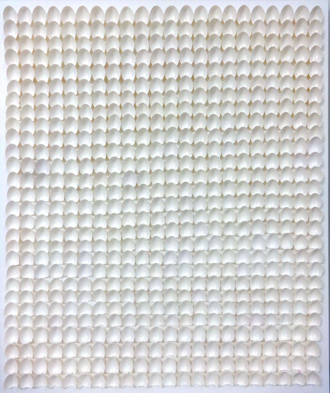 NANO 616, 2016 , invisible color on eggshells on canvas, 120x100x7 cm/ Private collection, Belgium