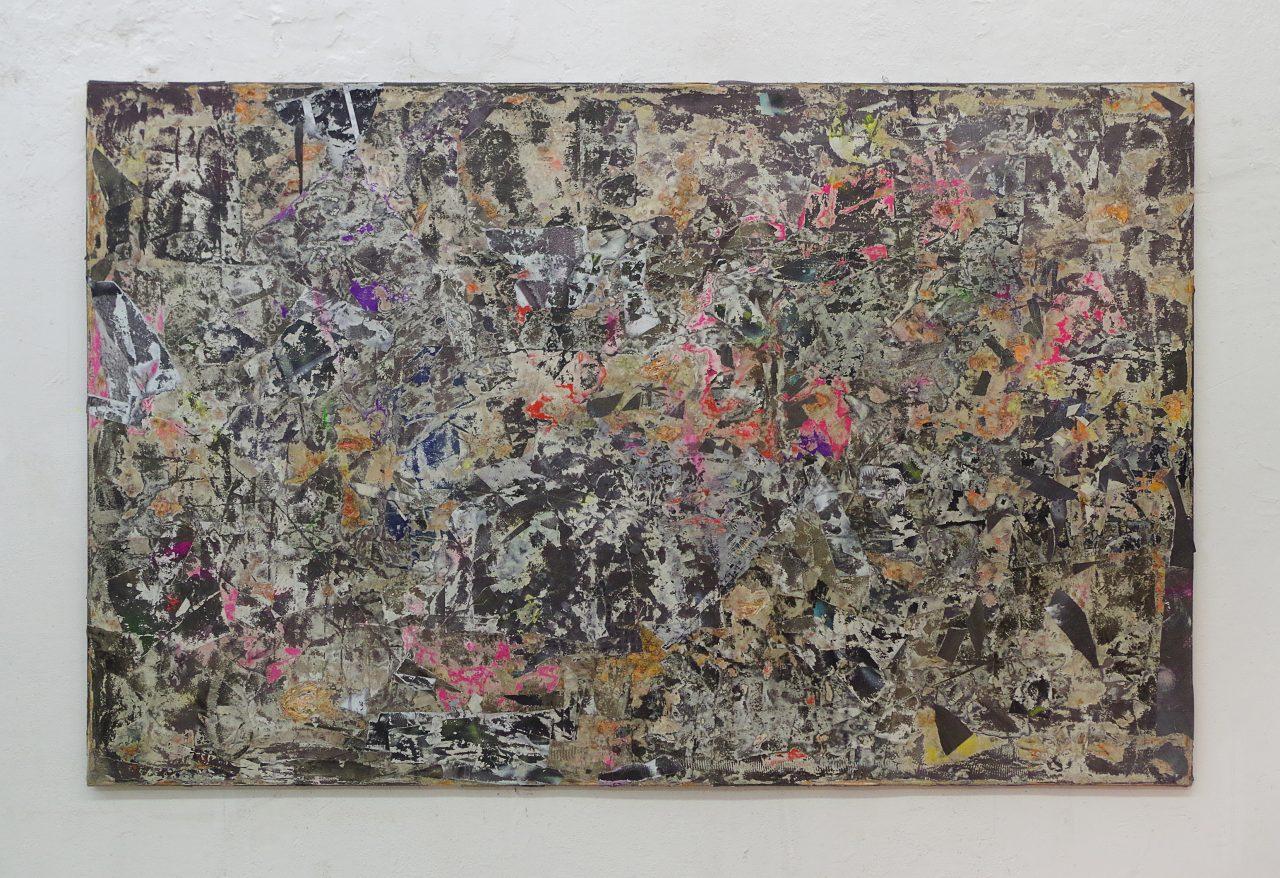 2017, Acryl, Spraypaint, Papier, Leinwand, Keilrahmen 140 x 220 cm