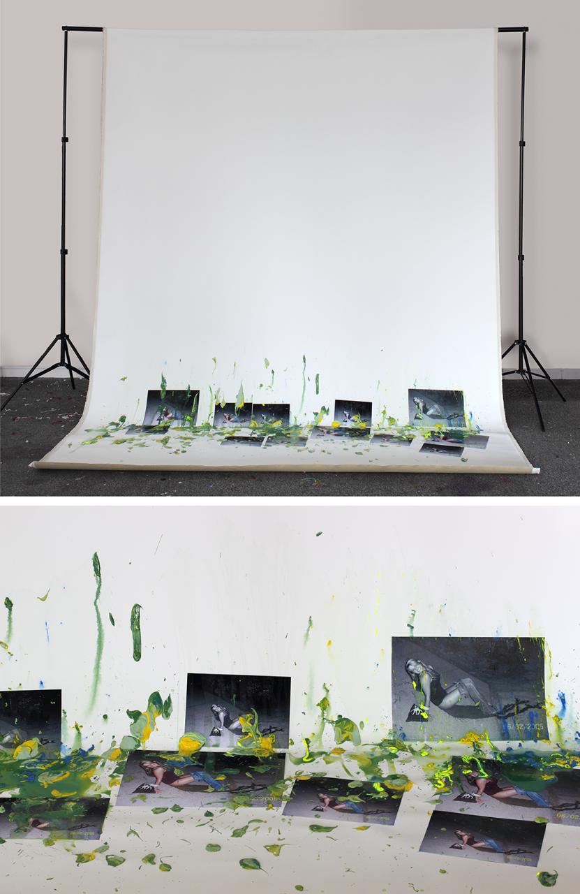 Let go 06/02/2005 2017 - 208 x 314 x 150cm, acrylic, photographs, canvas, photo backdrop stands