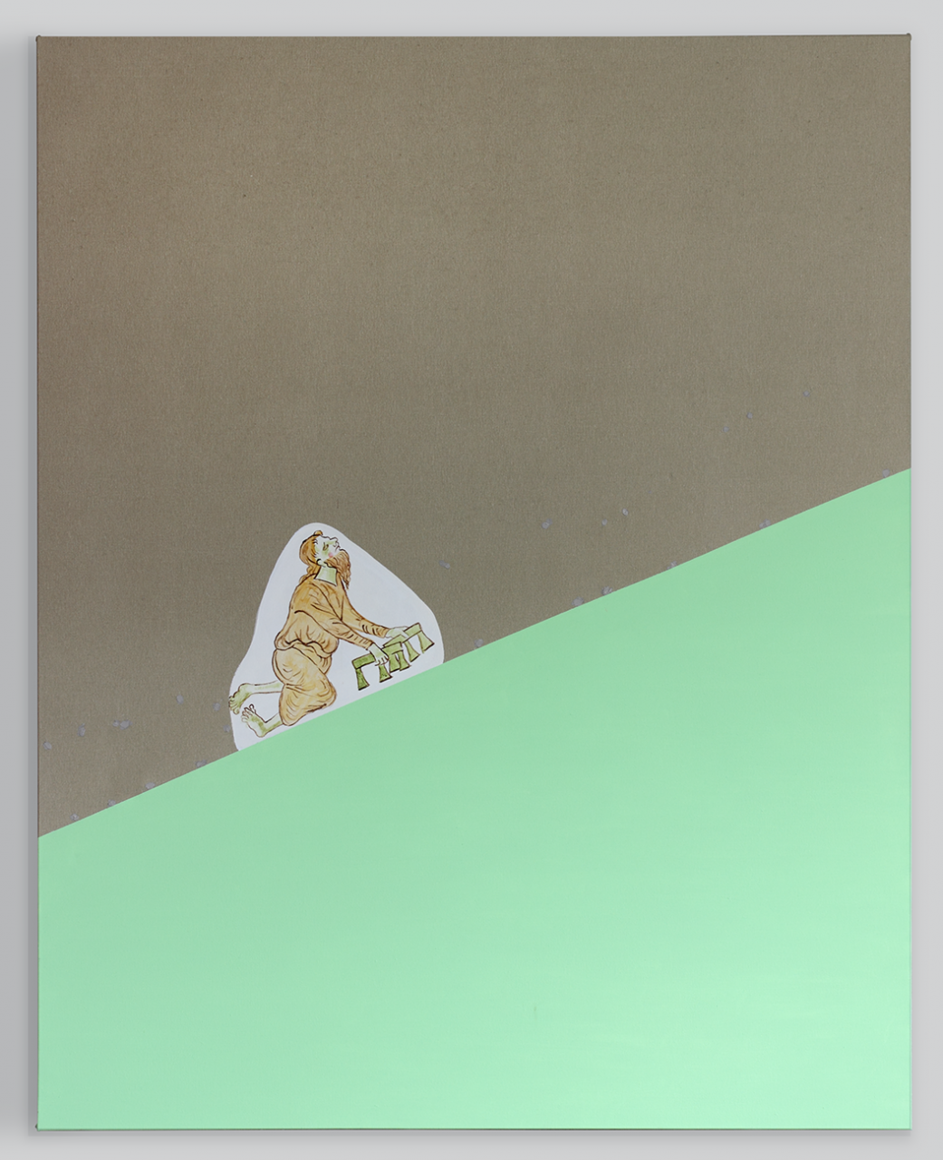 Slippery slope (pale green) 2017 - 200 x 160cm, acrylic on canvas