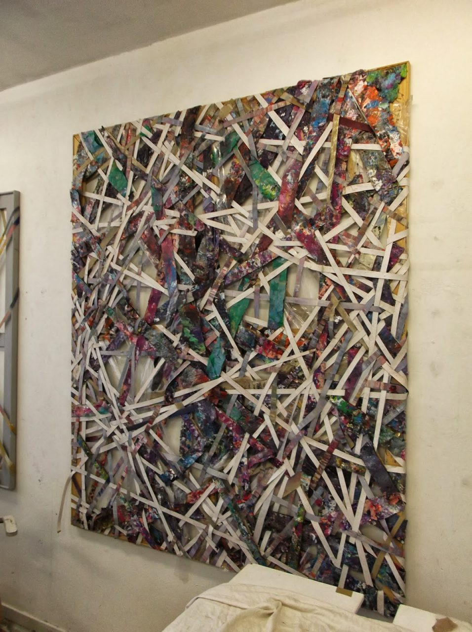 Crossover (2013), oil, acrylic, plastic, fabric and medium on wooden stretcher, 180 x 150 cm