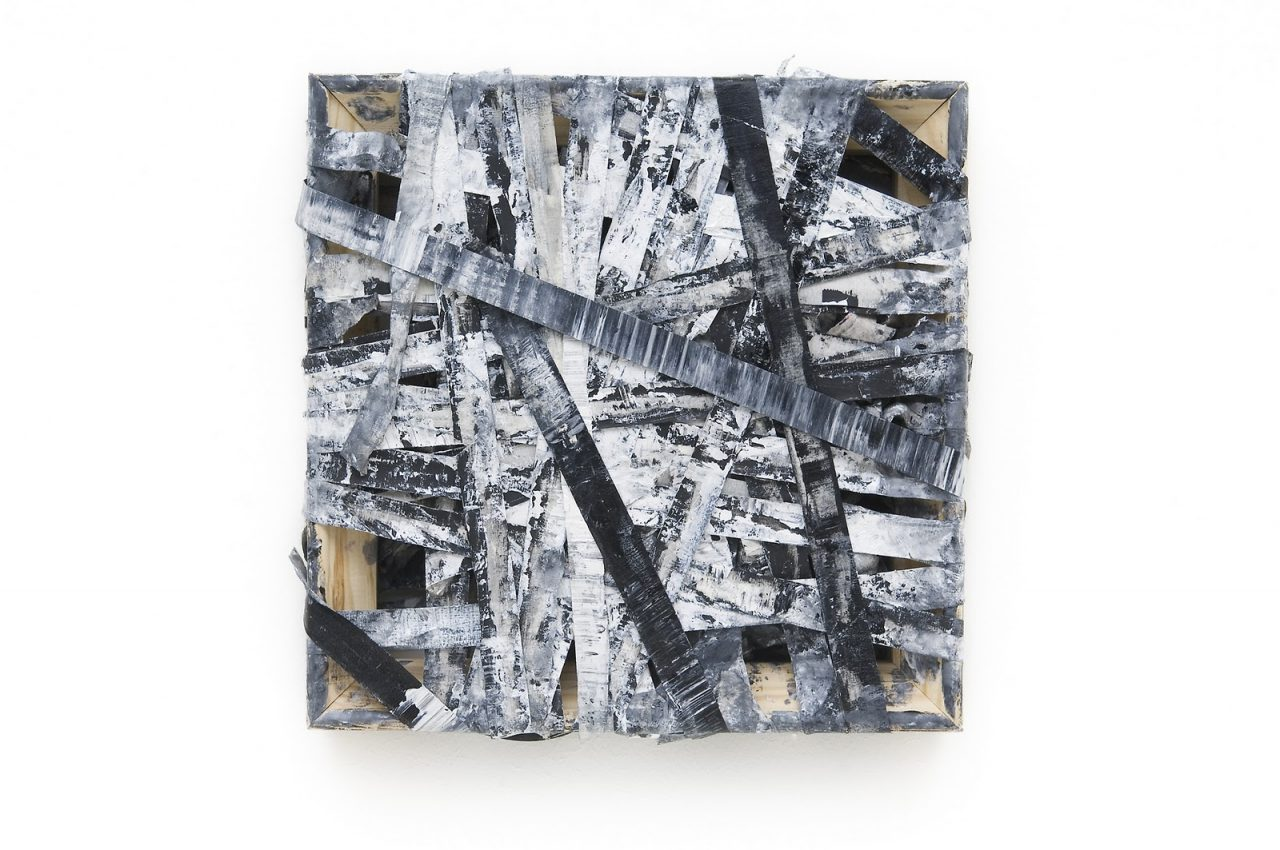 DNA (2011), oil on masking tape on wooden stretcher, 30 x 30 x 4 cm