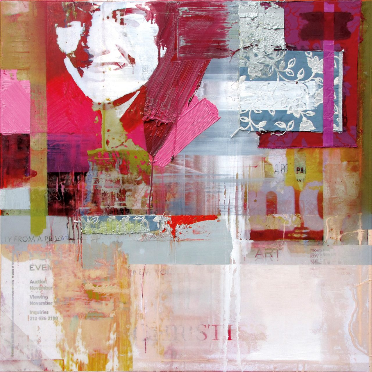 Auction Advertisement Jackie | 2016 | Acrylic Oil and Digital Prints on Canvas | 120 x 120 cm