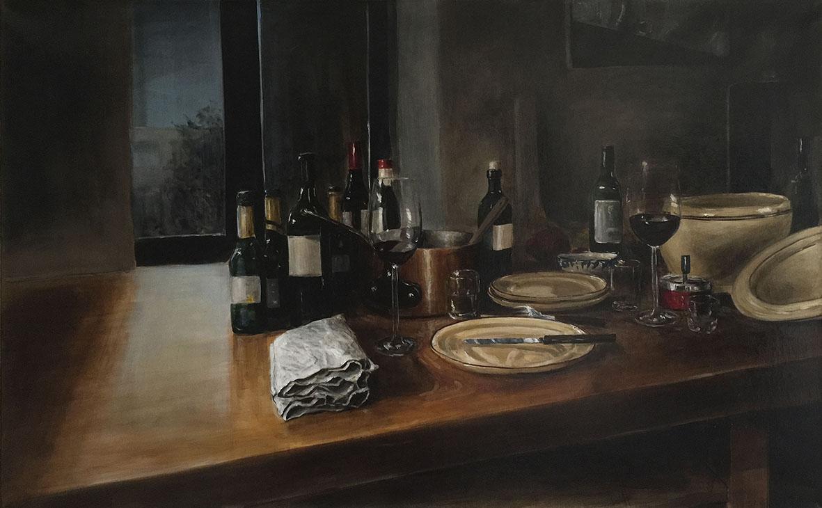 der wein aus deinem glas, 2017, öl/leinwand, 80 x 130 cm