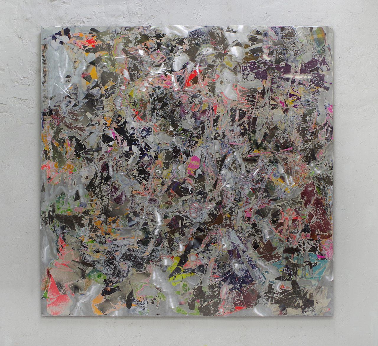 2017, Acryl, Spraypaint, Papier, Aluminium, Keilrahmen 200 x 200 cm