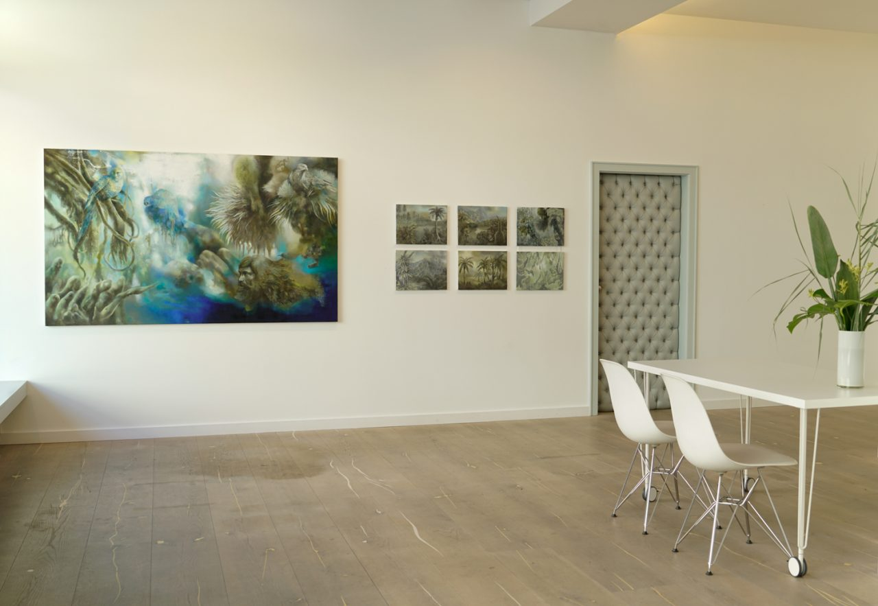 exhibtion view SWAMP / forest with hybrid creatures and historical landscapes at Galerie Leuenroth, Frankfurt am Main