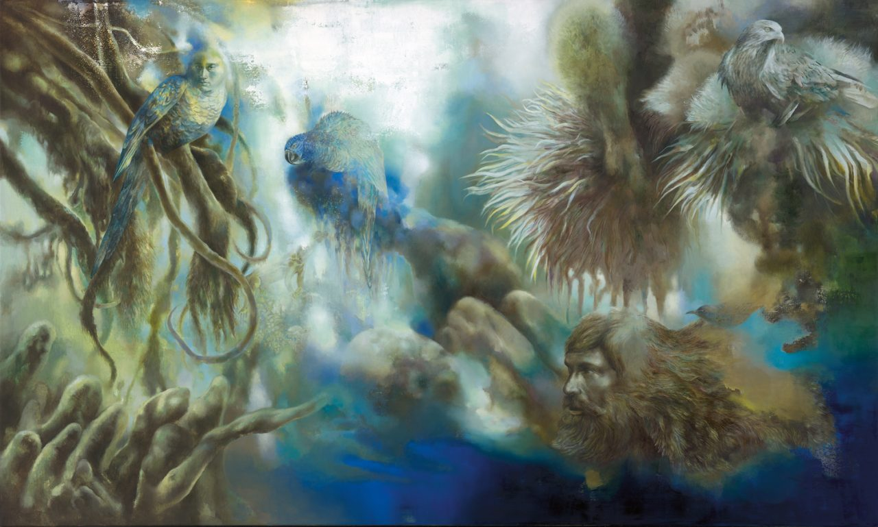 Forest with hybrid creatures, 2017, 120 x 200 cm, Oil on canvas